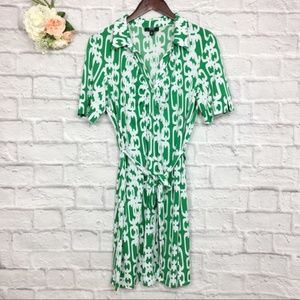 MSK Green White Printed Fit Flare Dress Size PL